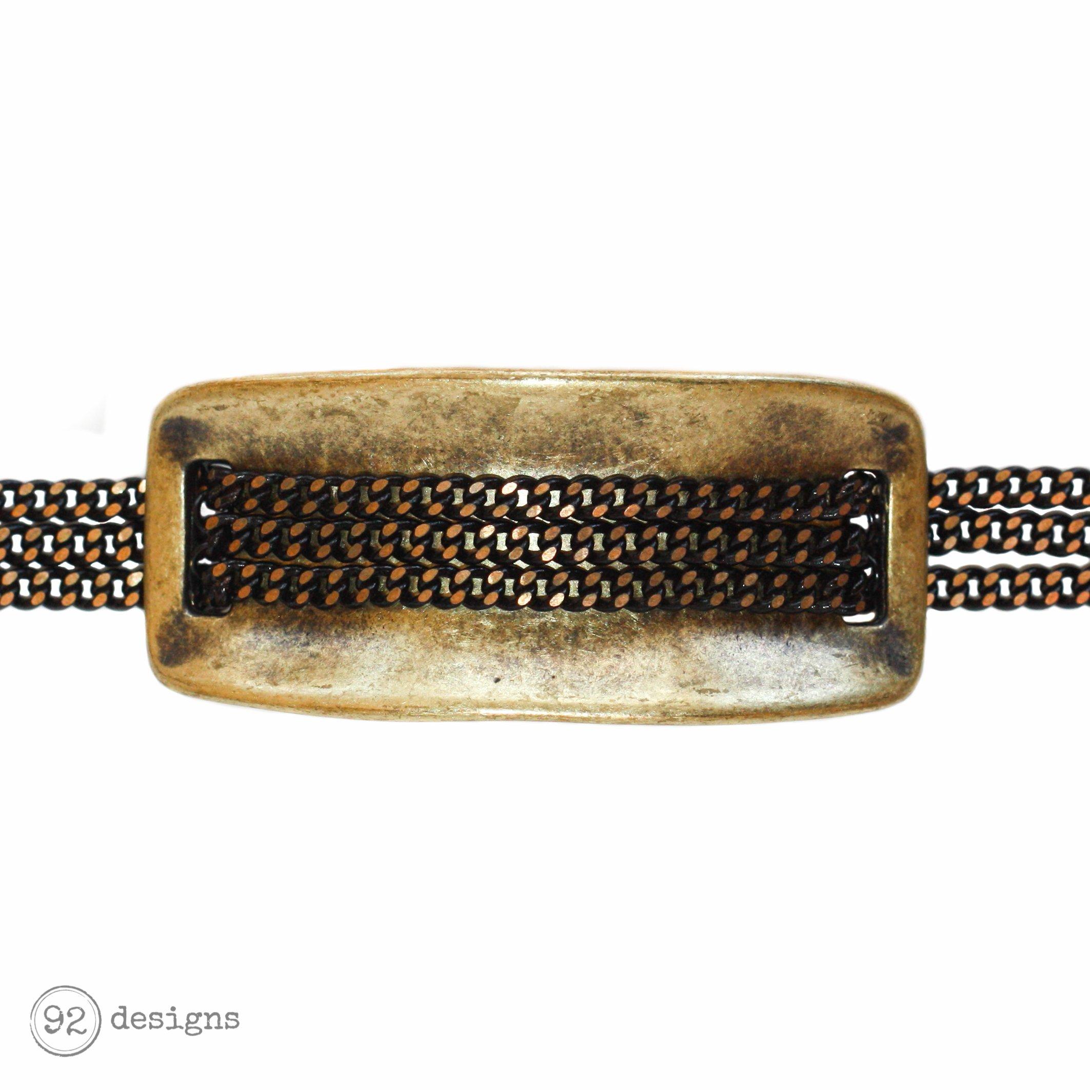 Chain Cuff Bracelet - Antique Brass - Close