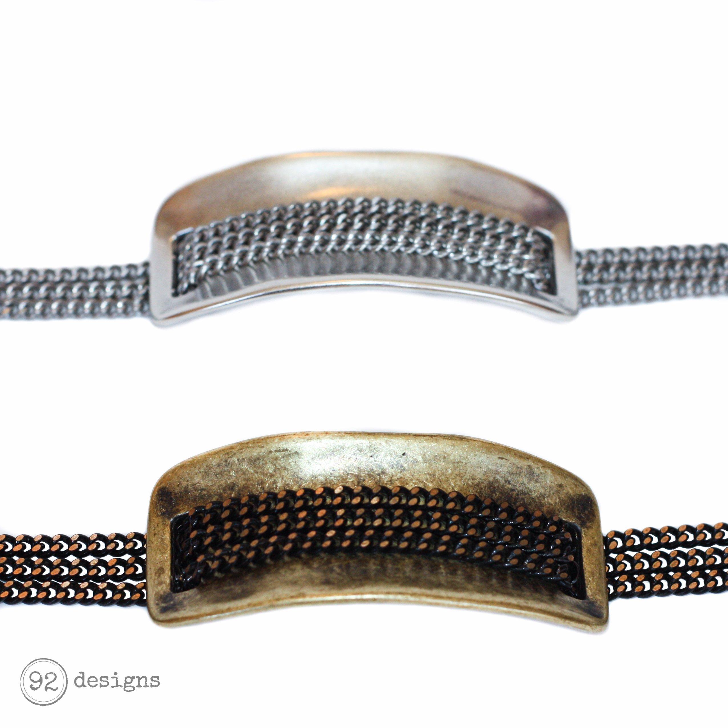 Chain Cuff Bracelets - Antique Brass and Silver - Close