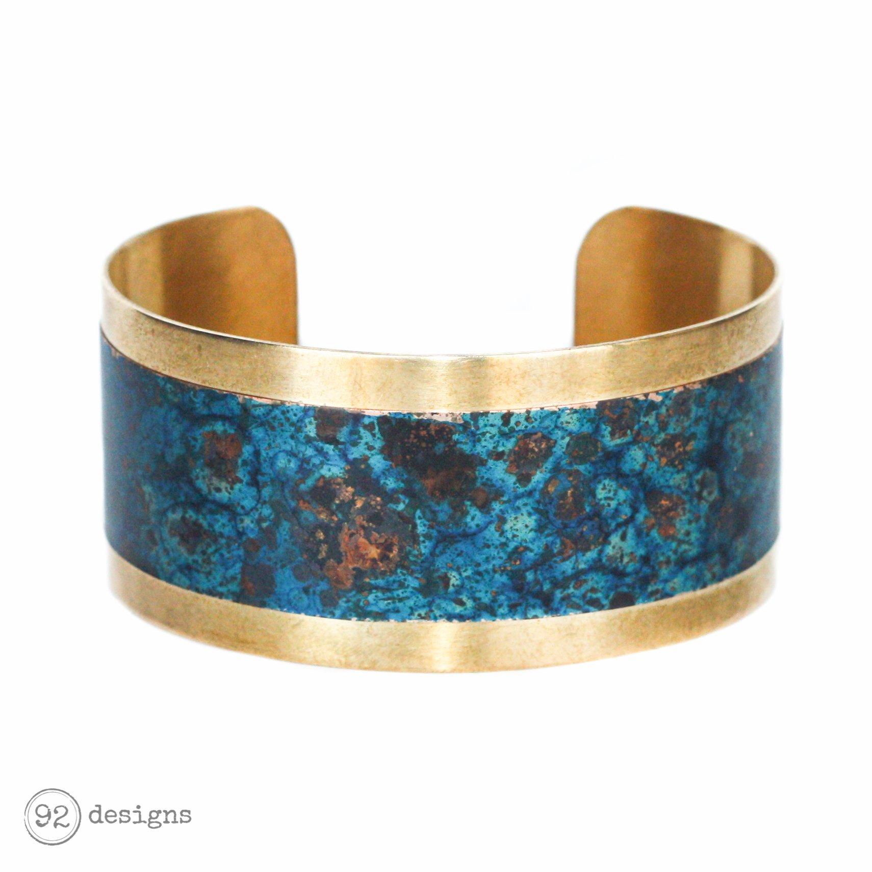 Brass and Copper Cuff - Lagoon - Tilt