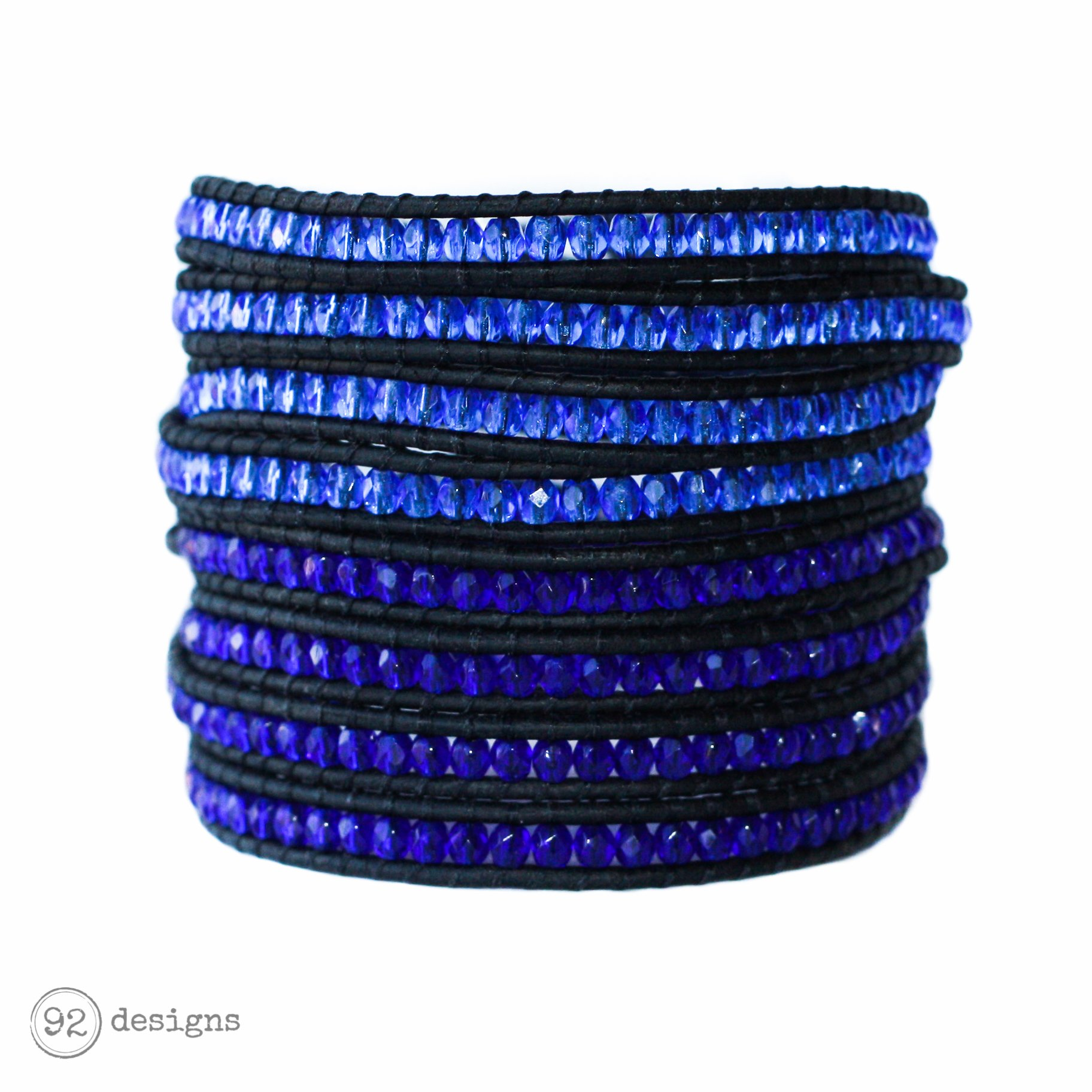 smooth of products czech hole holes light beads big with lot glass sapphire round blue druk supplies