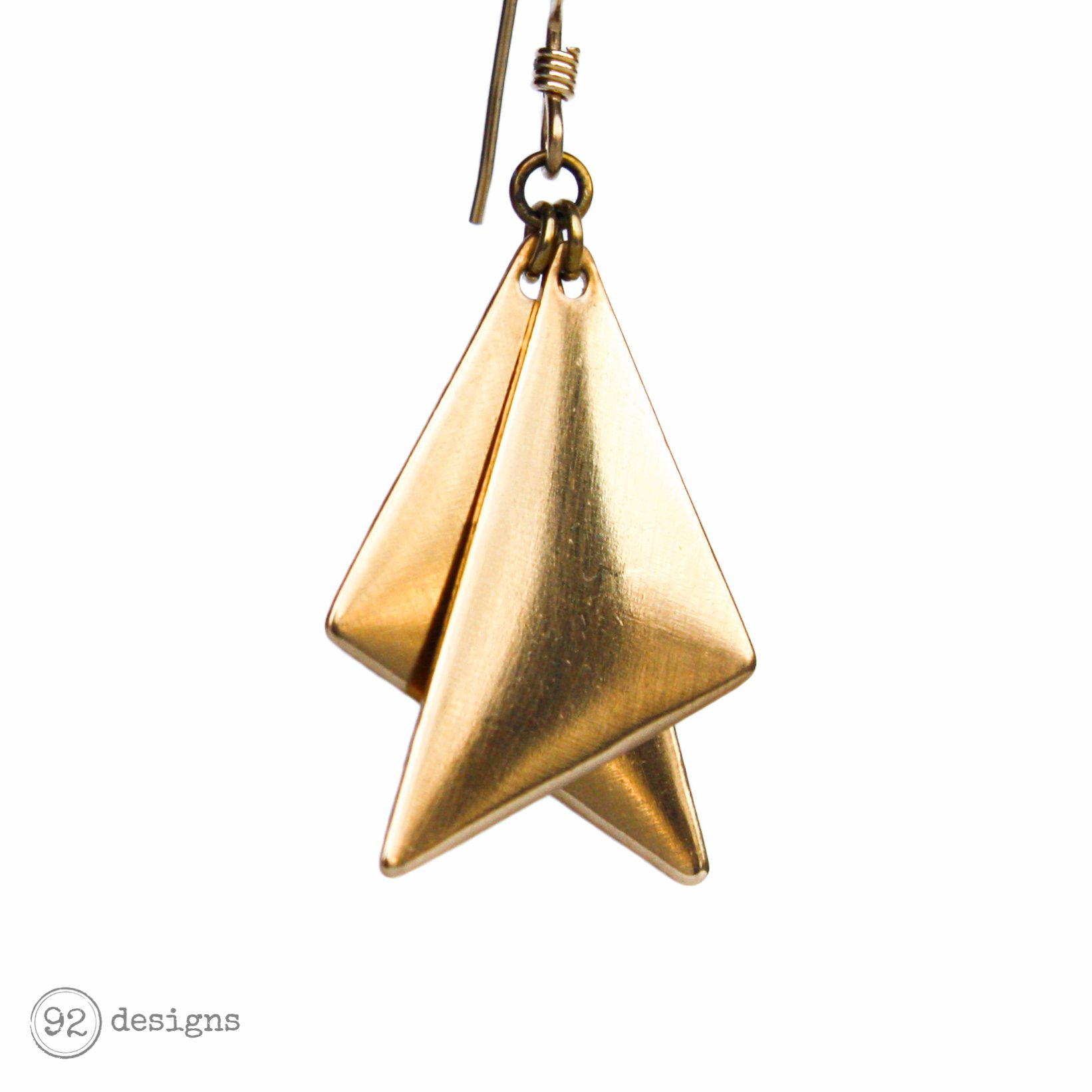 layered right triangles - brass - close