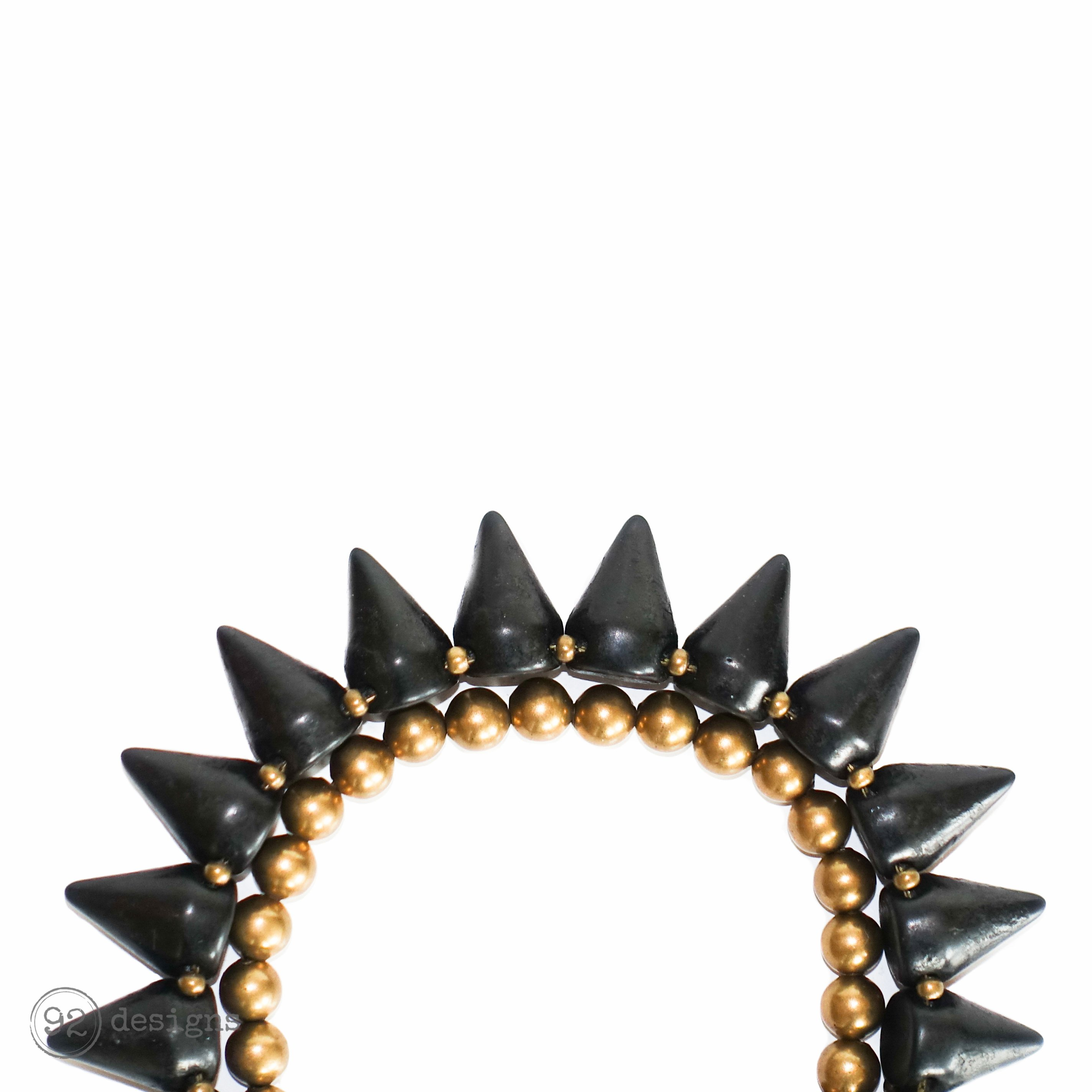 Semi-Precious Spikes Bracelet - with brass beads