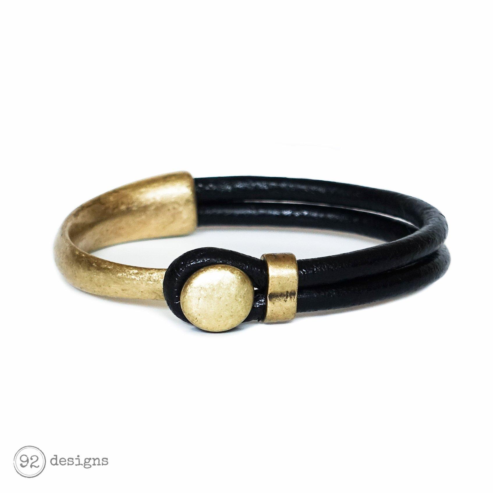 button top bracelet - antique brass/black