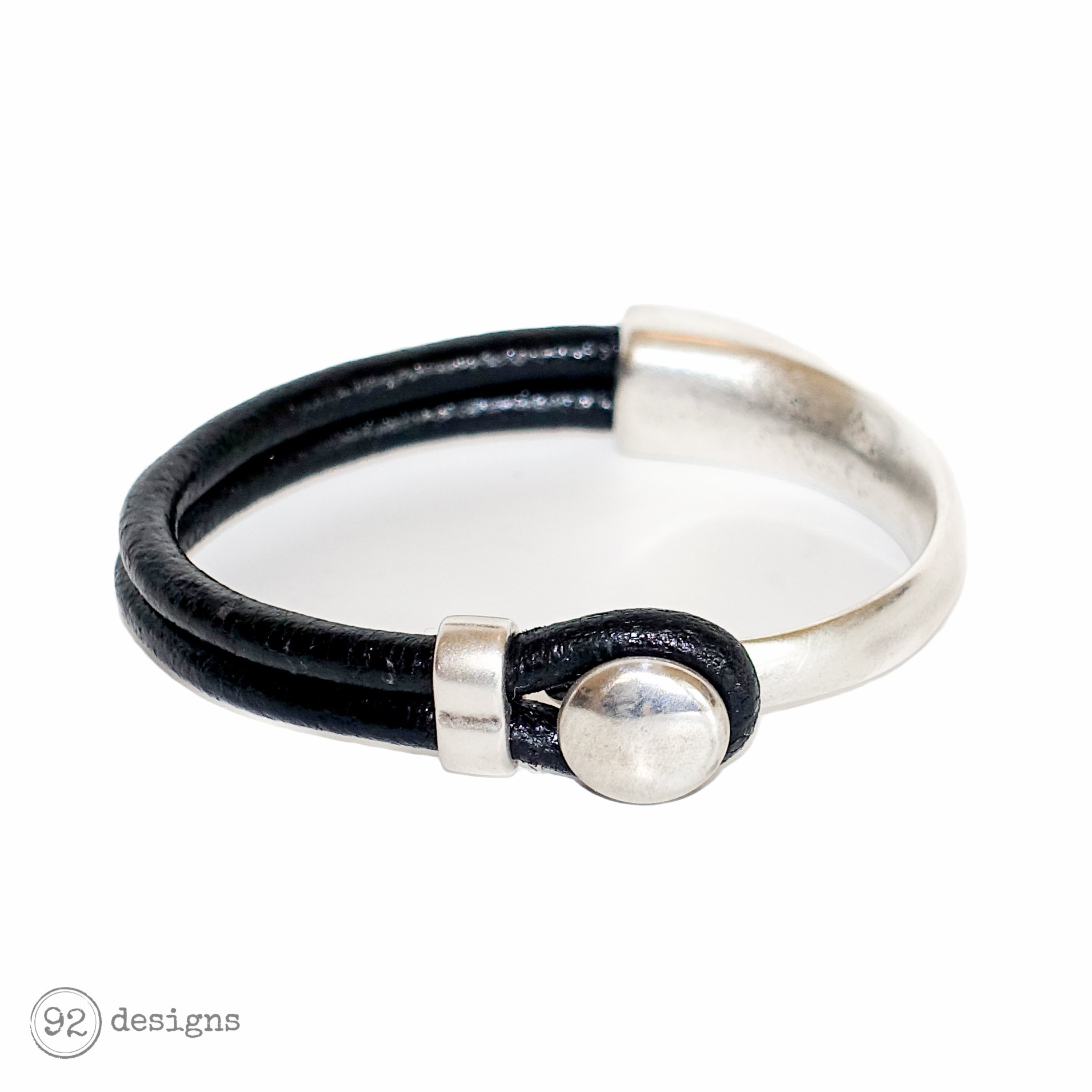 button top bracelet - silver/black