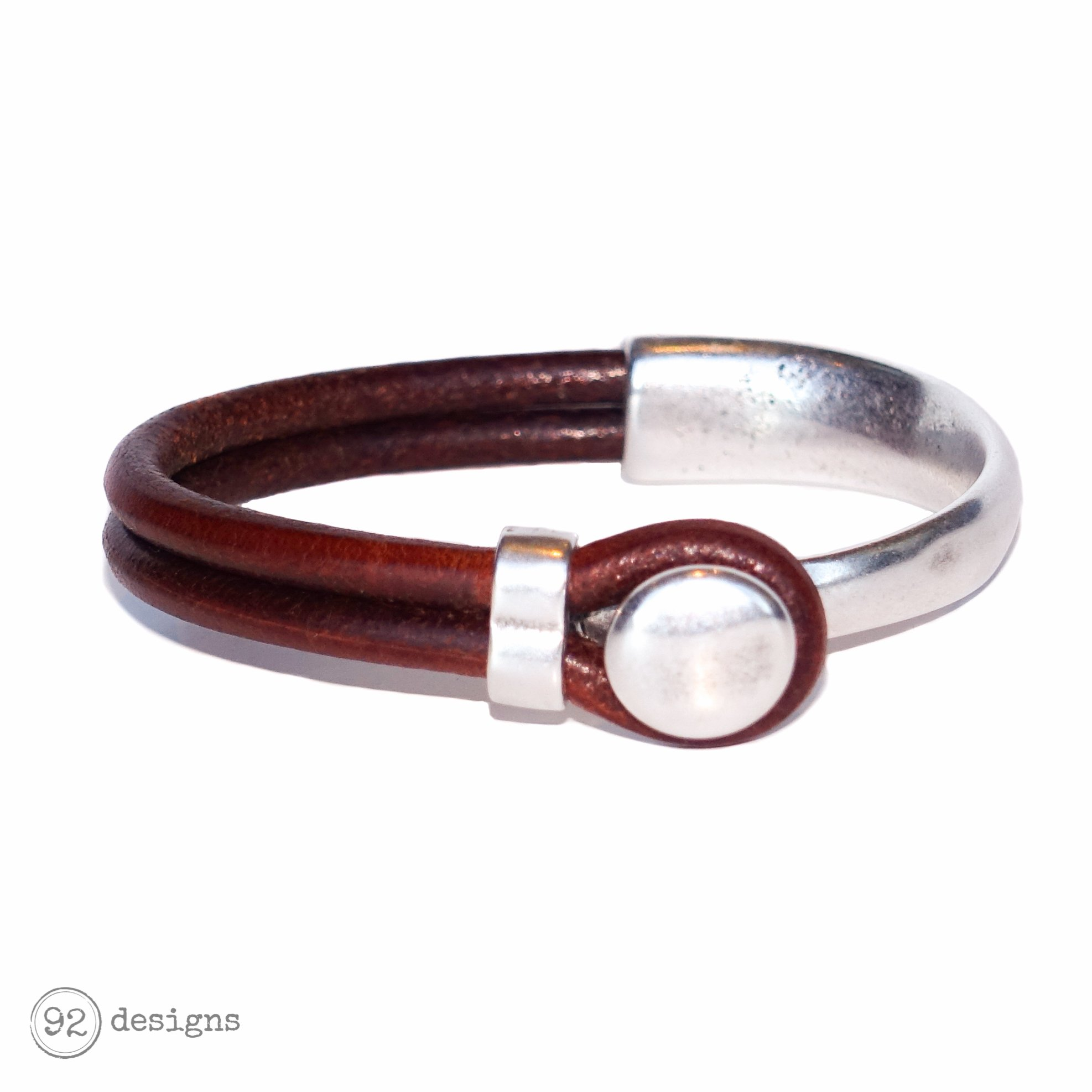 button top bracelet - silver/brown