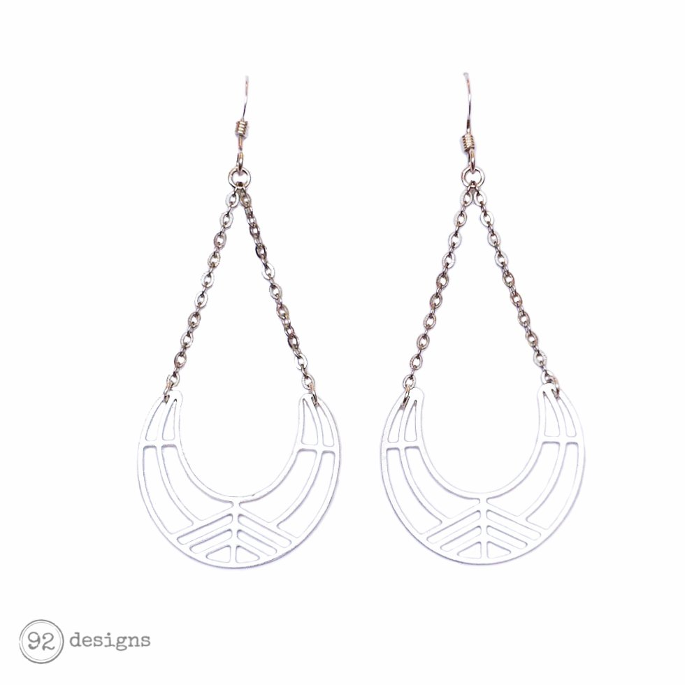 Laser-cut Moon Earrings - matte silver