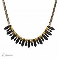 Black and Brass Dagger Necklace