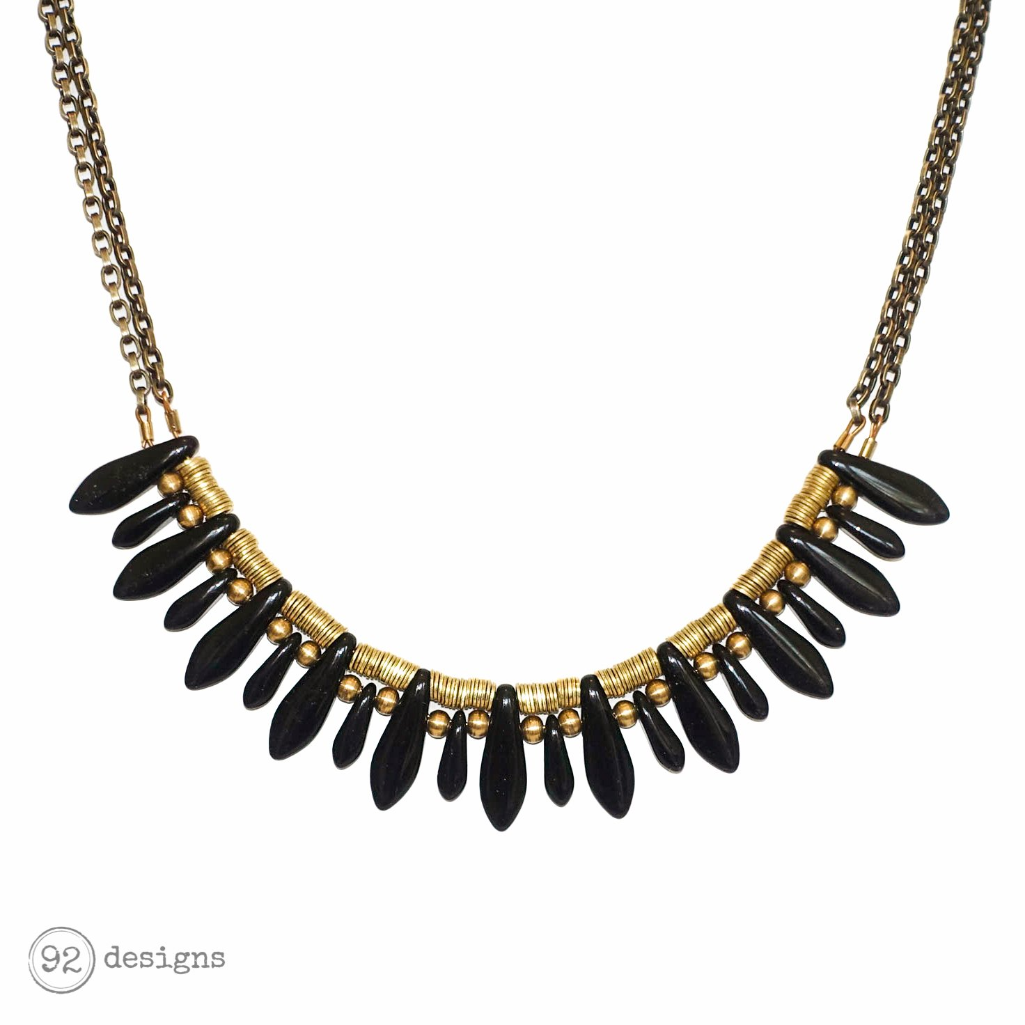 com necklace pinkpowder pendant onyx short sunburst black