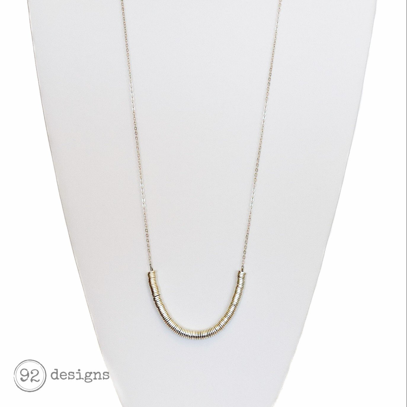 Long Heishi Necklace - silver