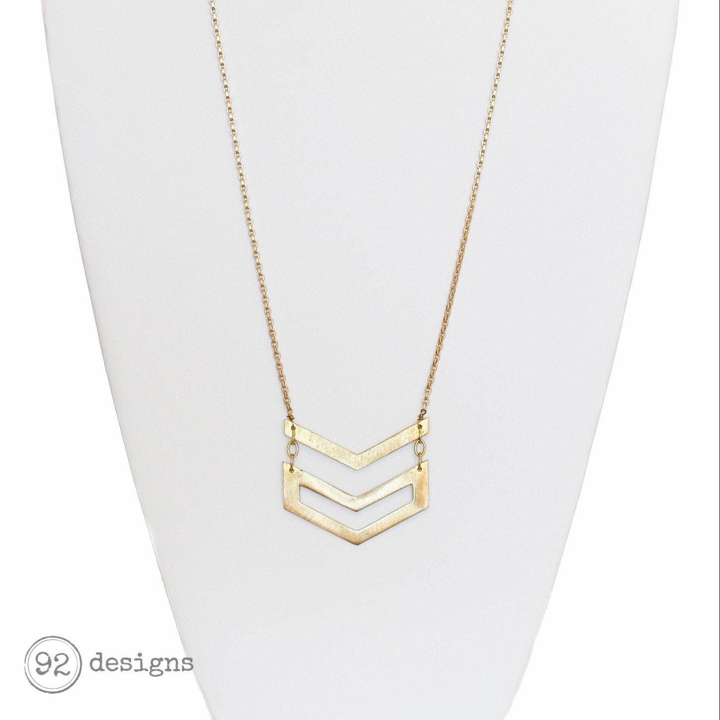 Double Chevron Necklace - Long