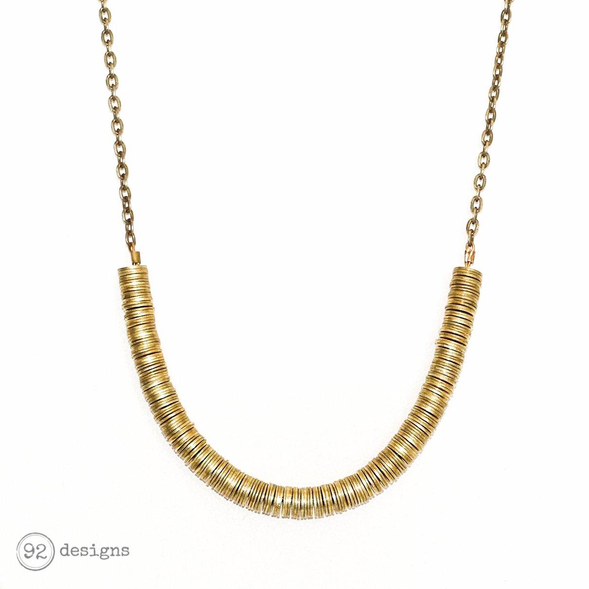 Long Heishi Necklace - brass