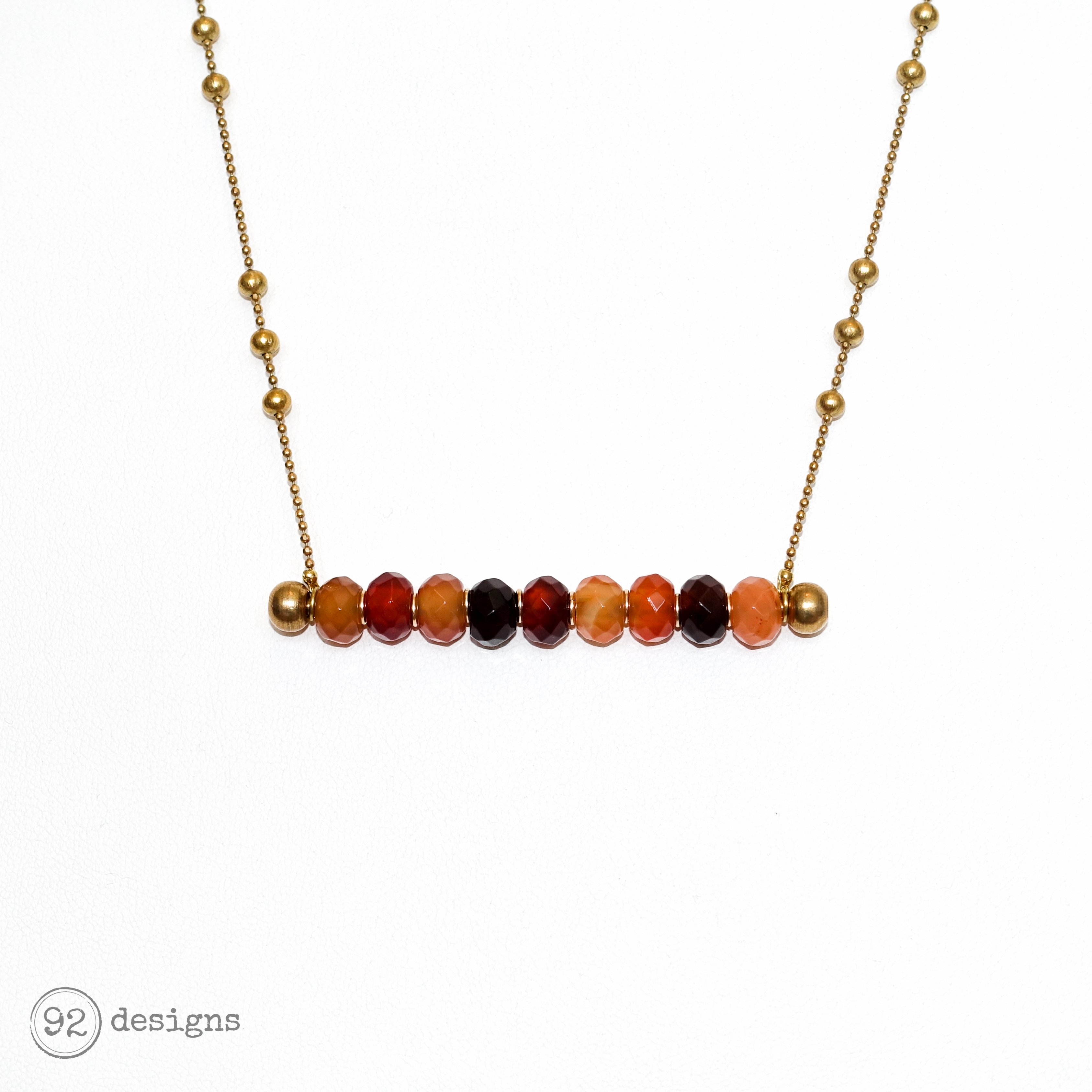 Carnelian Barbell Necklace