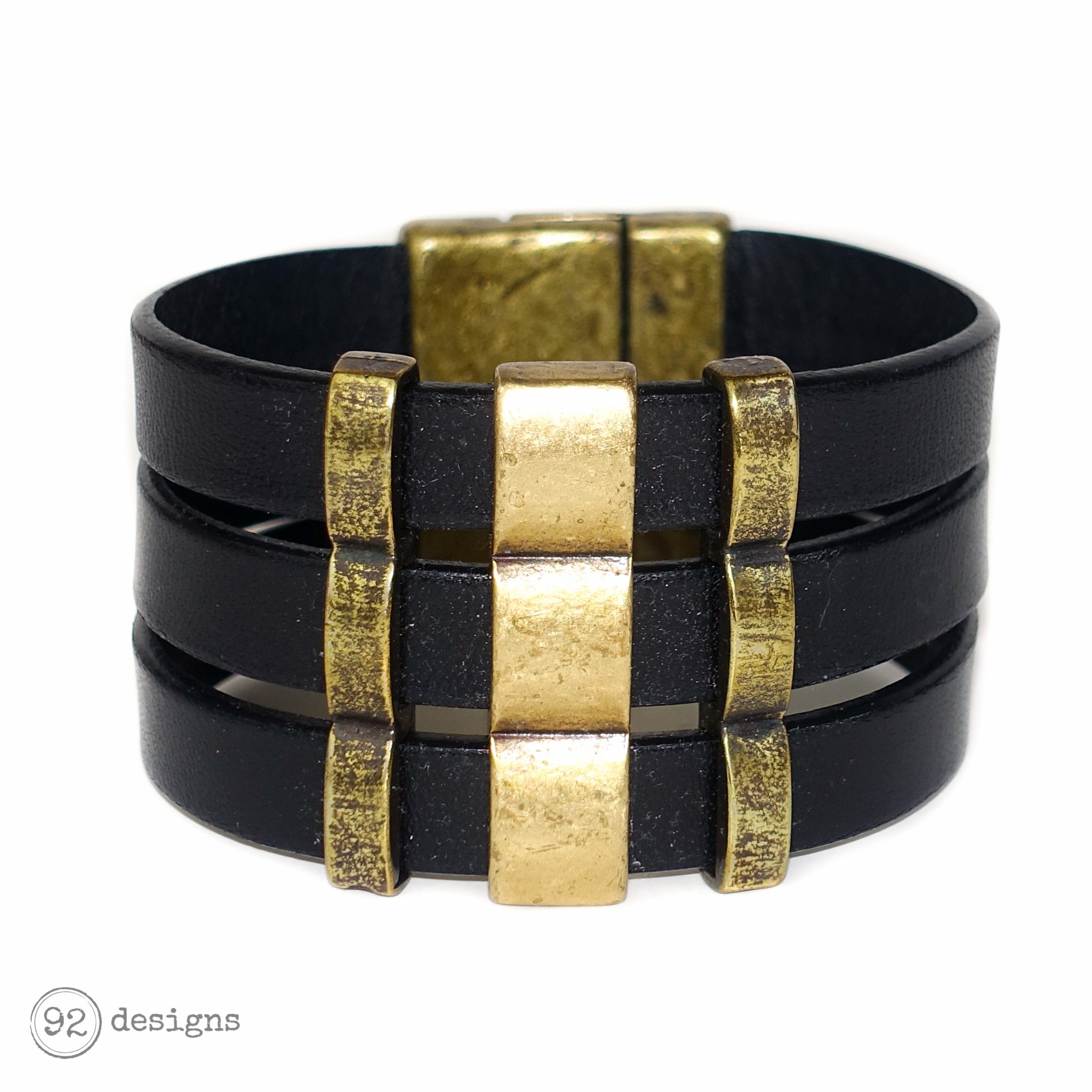 Triple Leather Cuff - black:brass
