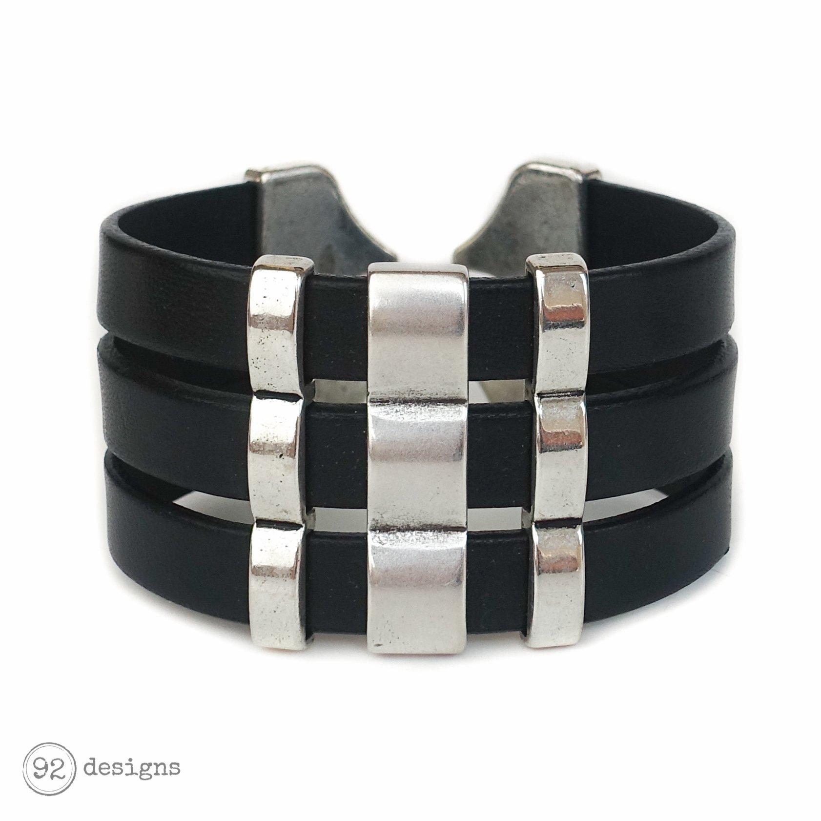 Triple Leather Cuff - black:silver