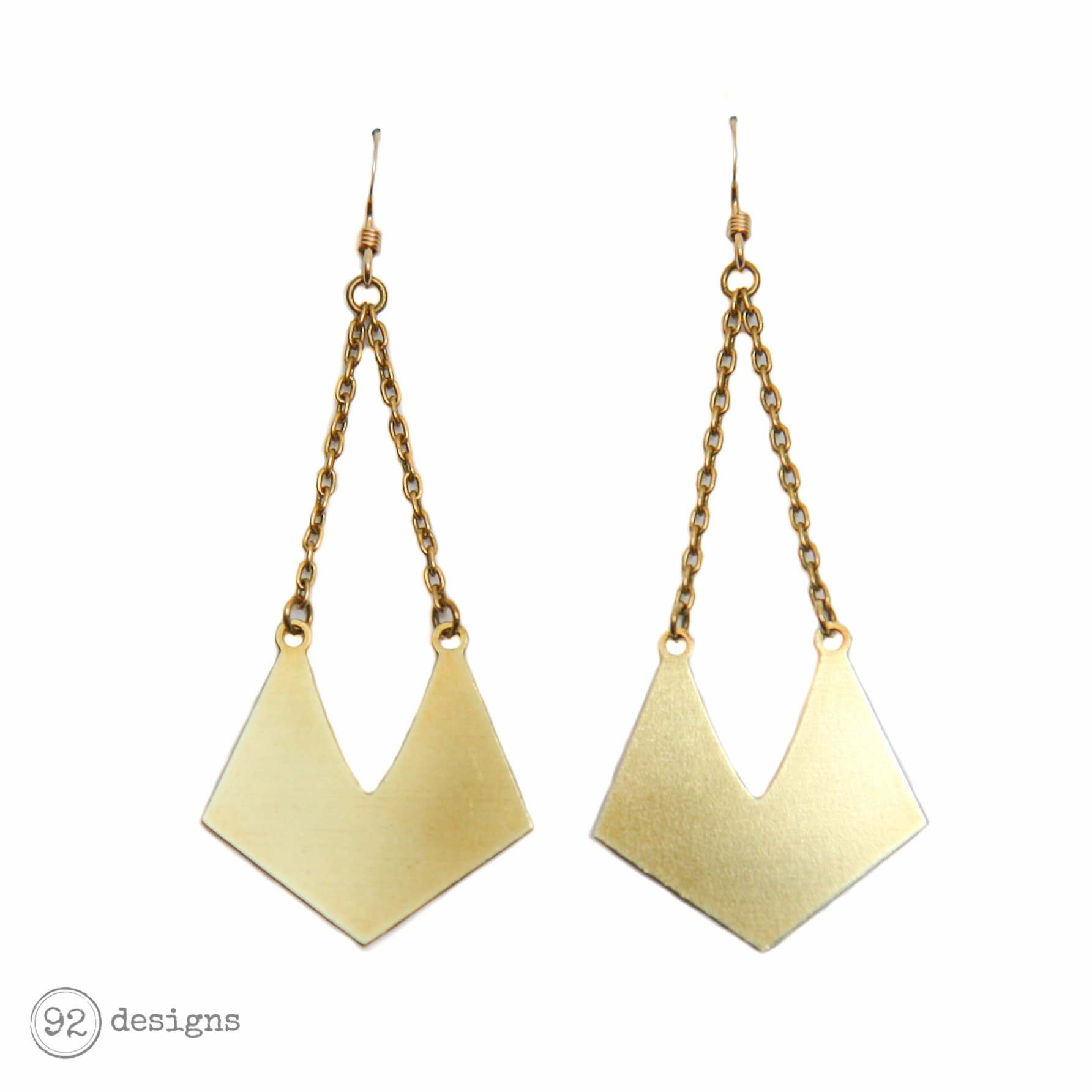 Manta Earrings - Brass
